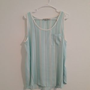 Loft striped sleeveless blouse, size large